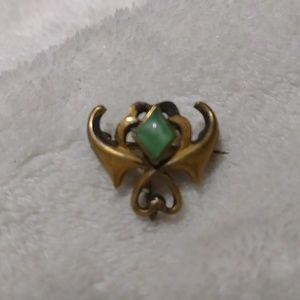 Victorian Brooch Pendant Art Nouveau Green CatsEye